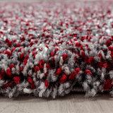 Hoogpolig rood gemeleerd vloerkleed Shaggy Queen 4500 _