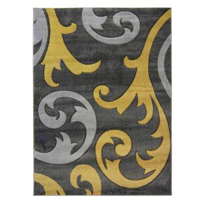 Modern vloerkleed Coridon Elude kleur oker